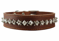 "Real Leather Spikes Dog Collar 18""-22"" neck size 2"" wide Cane Corso Rottweiler"