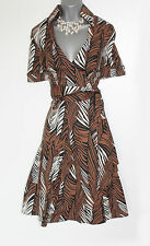 Karen Millen Brown Tropical Print Safari Wrap Style Short Sleeve Dress sz-10/38