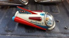 "1950's TIN LITHO 9"" BATTERY OP ATOM ROCKET 7 BY MODERN TOYS JAPAN, EX, READ!"