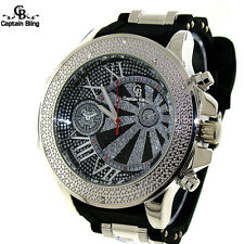 Men's Hip Hop Captain Bling Analog Fashion Pave Look Bullet Band Watch #1945 New