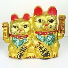 Gold Maneki Neko Japanese Beckoning Fortune Money Lucky Cat Couple Arms Wave 10""