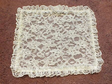 """Collectible Beautiful Lace Doily Table Linen White Doubled Ruffled 9.5 x 8.5"""""""