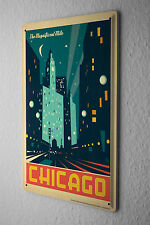 Tin Sign Deco City  Chicago shopping street at night