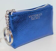 NEW VICTORIA'S SECRET BLUE METALLIC CREDIT CARD HOLDER POUCH CASE BAG COIN PURSE