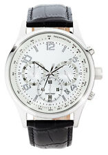 Jorg Gray Mens JS0130 Silver Dial Black Leather Band Stainless Steel Watch