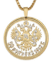 "Russia Eagle Pendant Necklace.Hand cut Russian Coin, 1""diameter ( # 389 )"