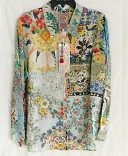 $212 JOHNNY WAS 100% SILK COLORFUL BUTTON DOWN BLOUSE TUNIC TOP SZ XL NWT