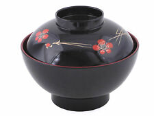 "Japanese 4.5""D Lacquer Miso Soup Rice Bowl w/ Lid Plum Blossom, Made in Japan"