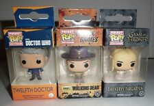 3 Funko Pocket Pop Keychain Figures Lot Doctor Who Walking Dead Game of Thrones
