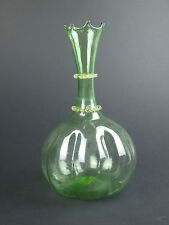 Salviati green glass vase with gold leaf Murano Venetian antique Italy