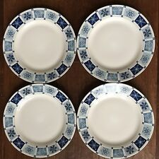 "NEW NIOB FOUR EXCELLENT SAKURA DINNER 10 3/4"" PLATES WINTER FROST BLUE SNOWFLAKE"