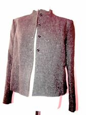 "CHARCOAL GREY SHORT FITTED STAND COLLAR JACKET B 40"" UK16"