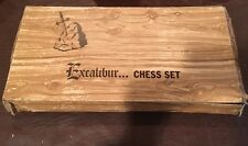 "VINTAGE EXCALIBUR OLD GOTHIC STYLED CHESS SET 4 1/2"" KING WEIGHTED & FELTED"