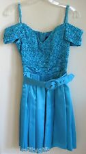 NITE SCARLETT TURQUOISE BLUE+GREEN SEQUIN SATIN SCRUNCHED DRESS+BELT-SIZE 7,8