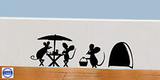 Mouse Hole Wall Art Sticker Picnic, Vinyl Decal Mice Home Skirting Board Funny
