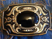 HAND CRAFTED IN U.K. BLACK ONYX STONE BELT BUCKLE GOLD / BLACK METAL,WESTERN