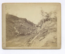 C-1870's-1890's CABINET PHOTO 15 GOLD OR SILVER MINERS & ORE CARS