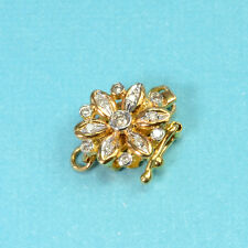 14k Solid Yellow Gold Diamond Floral Clasp With 2 closed Jump Rings