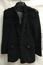 Zara Woman Cotton Long Black Coat. Size Small. RRP €119.