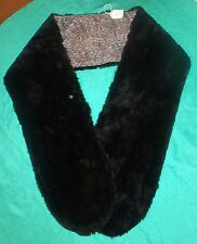 Medium Thick Black Faux Fur Stole w Black & White Lining for Adult or Teen FSC10