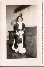 Playing Dress Up In Mom/Grannys Clothes Shawl Fancy Hat Purse Girl 1953 Photo