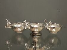 Silver Metal Stag Deer Nibbles Hors d'oeuvre Decorative Triple Serving Dish