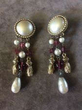 Carolee Big Oval Faux White Pearl Dangle Clip Earrings Vintage - Glass beads