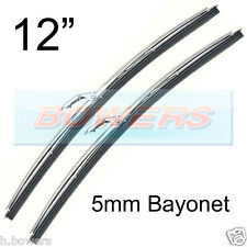 "PAIR OF 12"" INCH STAINLESS STEEL CLASSIC CAR WIPER BLADES 5mm BAYONET FITTING"