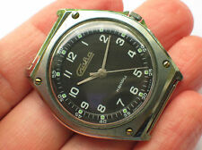 Rare soviet SLAVA QUARTZ watch Military BLACK Dial Unusual case USSR / CCCP VGC+