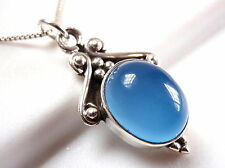 Chalcedony Accented Necklace 925 Sterling Silver Ethnic Tribal Style New
