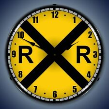 New LIGHT UP old style Train Railroad Crossing clock