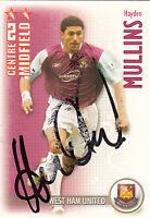 West Ham United F.C Hayden Mullins Hand Signed 06/07 Premiership Shoot Out Card