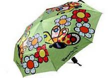 """Giftcraft Romero Britto """" Butterfly & Flowers"""" Folding Compact Umbrella"""