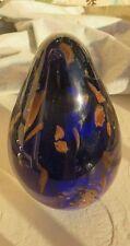 Murano Art Glass Egg Shape Paperweight w/  Cobalt Blue & Gold Flecks
