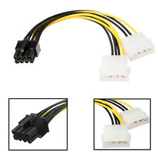 16cm/5'' 8 Pin PCI Express Male To Dual LP4 4Pin Molex IDE  Power Cable Adapter