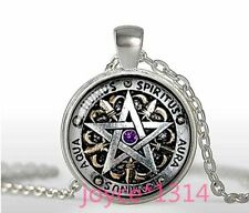 Pentagram Wiccan Cabochon Tibetan silver Glass Chain Pendant Necklace