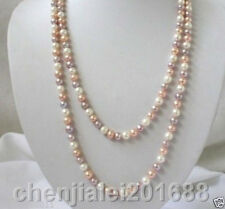 7-8mm blanc rose pourpre multicolore Collier de perles de culture d'eau douce 36