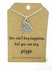 You Can't Buy Happiness Buy You Can Buy Pizza Silver Necklace Message Funny Gift