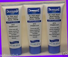 3 Dermasil Oil Free Night Moisturizer Facial Cream VITAMIN A & E Hypo-allergenic