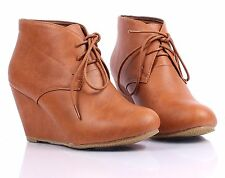 Tan New Faux Leather Lace Up Womens Wedge Heels Ankle Boots Shoes Size 9