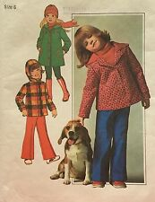 Vtg 1970s Simplicity 7688 Pattern Unisex Girls Boys Coat Jacket Pants Size 6