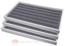 (3) White Plastic Stackable Sample Trays w/ 6 Slot Gray Jewelry Display Inserts