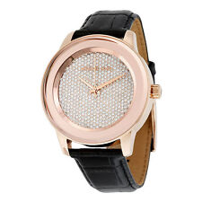 BRAND NEW MICHAEL KORS MK2456 KINLEY ROSE GOLD PAVE BLACK LEATHER WOMEN'S WATCH