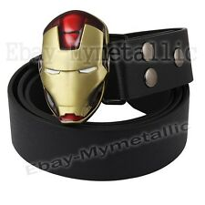 Super Hero IRONMAN Iron Man Mask Removable Metal Buckle Leather Belt