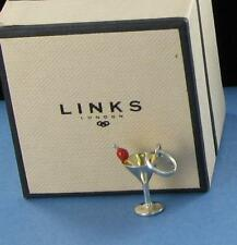 Links of London Charm Cocktail Glass w/ Cherry Sterling Silver & Enamel New $80
