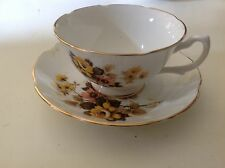 Royal Grafton Tea Cup Saucer Fine Bone England Yellow Pink Flower Footed Scallop
