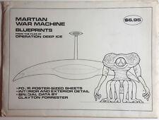 Original 1990s Martian War Machine/War of Worlds Blueprint Set-4 Sheets/Letter