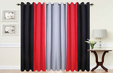 Curtains Eyelet Ring Top lined fully ready made tie backs 3 TONE black red grey