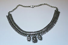 New Silver Hand Carved Indian God Lord Goddess Lakshmi Design Stunning Necklace