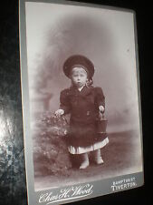 Cdv cabinet photograph girl with bucket by Wood at Tiverton c1890s